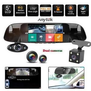 "Image 2 - רכב דאש מצלמה כפולה 5 ""1080P FHD רכב DVR מגע מראה אחורית מצלמה g חיישן מקליט ראיית לילה עדשה כפולה דאש מצלמת B33"