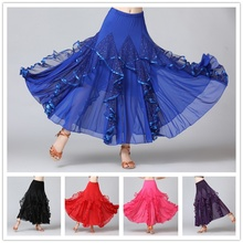 Ballroom Dance Skirt Modern Tango Waltz Latin Long Swing Mesh Sequin 904-B130