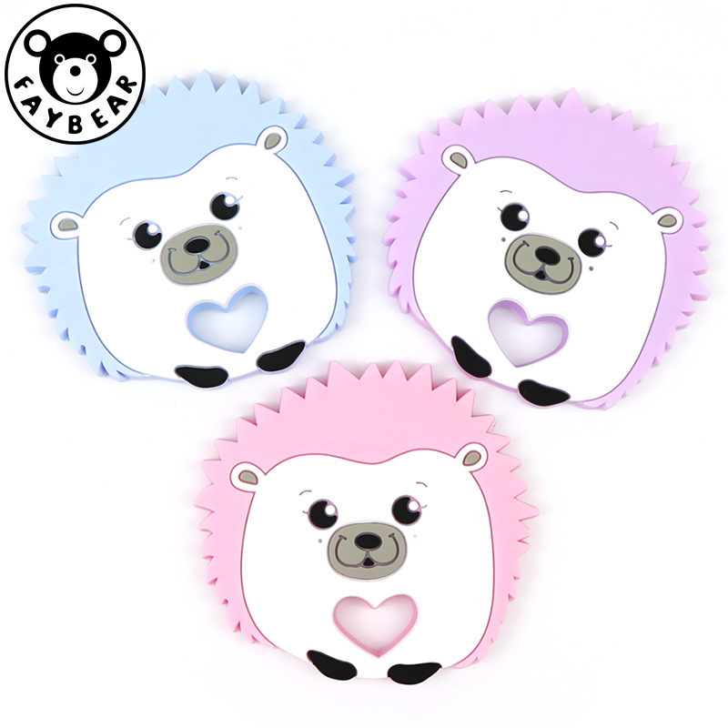 Silicone Baby Teethers Diy Cartoon Animal Hedgehog Ring Teether Bpa Free Infant Baby Silicone Chew Charms Toddle Teething Toys
