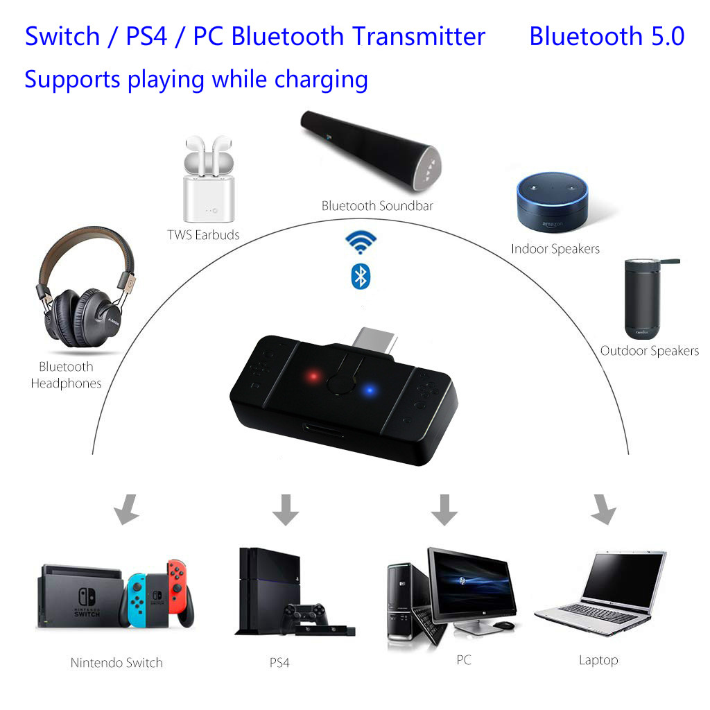 Bluetooth Wireless Adapter Transmitter Converter for Nintendo Switch Headphone Headset PS4 Laptop PC Accessories