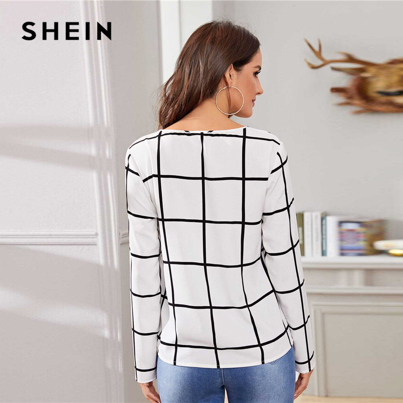 SHEIN White Plaid Print V-Cut Neck Spring Casual Blouse Women Tops 2019 Autumn Korean Long Sleeve Office Laides Blouses And Tops 2