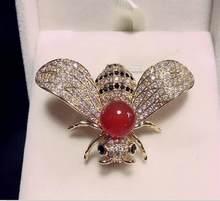 Broche en acier titane incrusté, abeille ambre rouge Noble, cadeaux, livraison gratuite