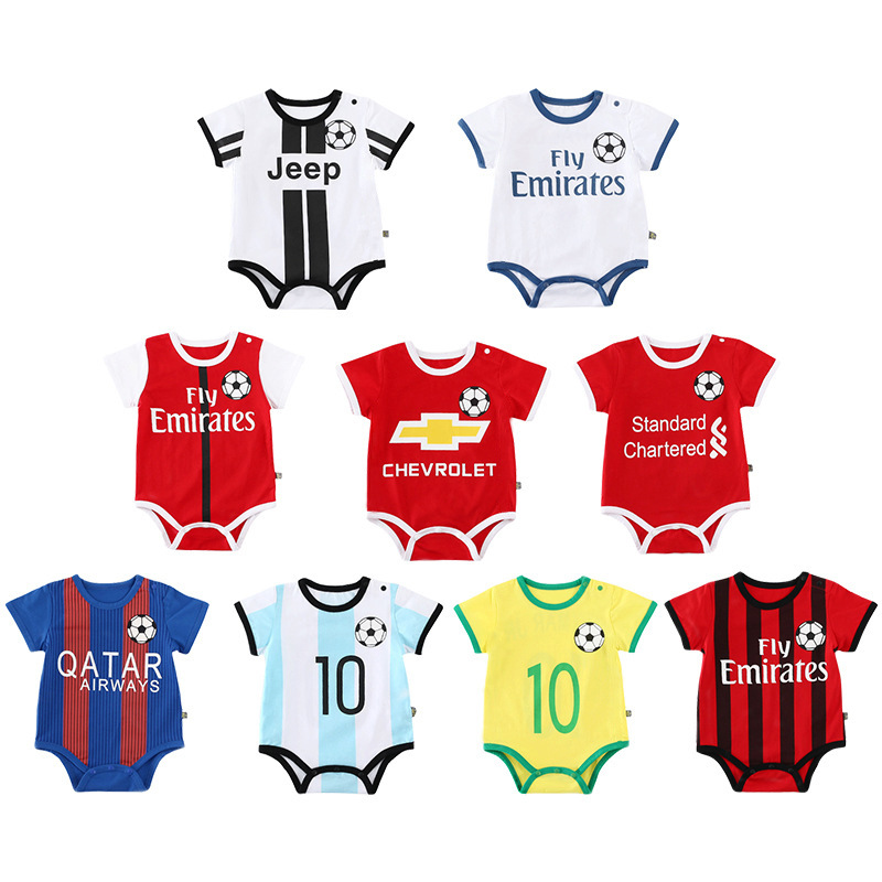 Newborn Baby Rompers Cute Football Kids Clothes Boys Girl Jumpsuits Roupas De Bebe Infantil Baby  Sport Clothing