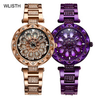 New Fashion Quartz Watch Women Gorgeous Diamond Starry Sky 360 Degree Rotating Hollow Dial Ladies Waterproof Female Watch