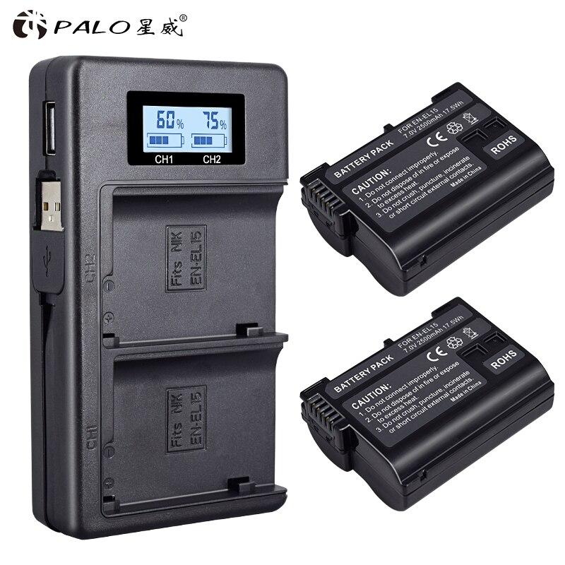 Palo 2 шт EN EL15 ENEL15 EN EL15 батарея + LCD двойное USB зарядное устройство для Nikon DSLR D600 D610 D800 D800E D810 D7000 D7100 D7200 V1