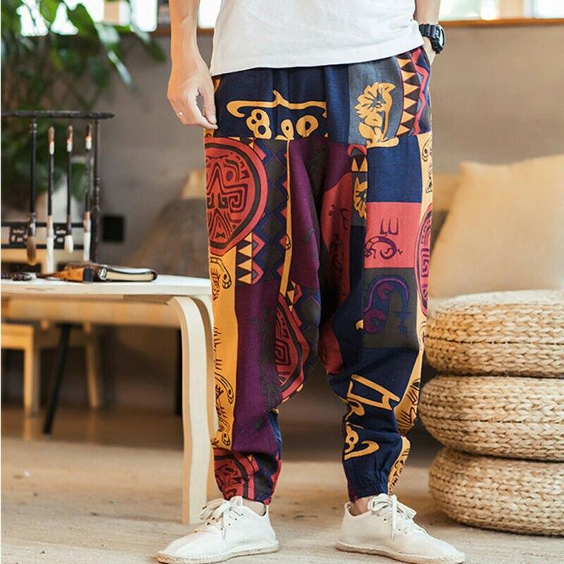 Casual Men Loose Harem Pants Hippie Aladdin Bohemian Boho Baggy Gypsy Trousers Male New Pants Cross-pants 2019