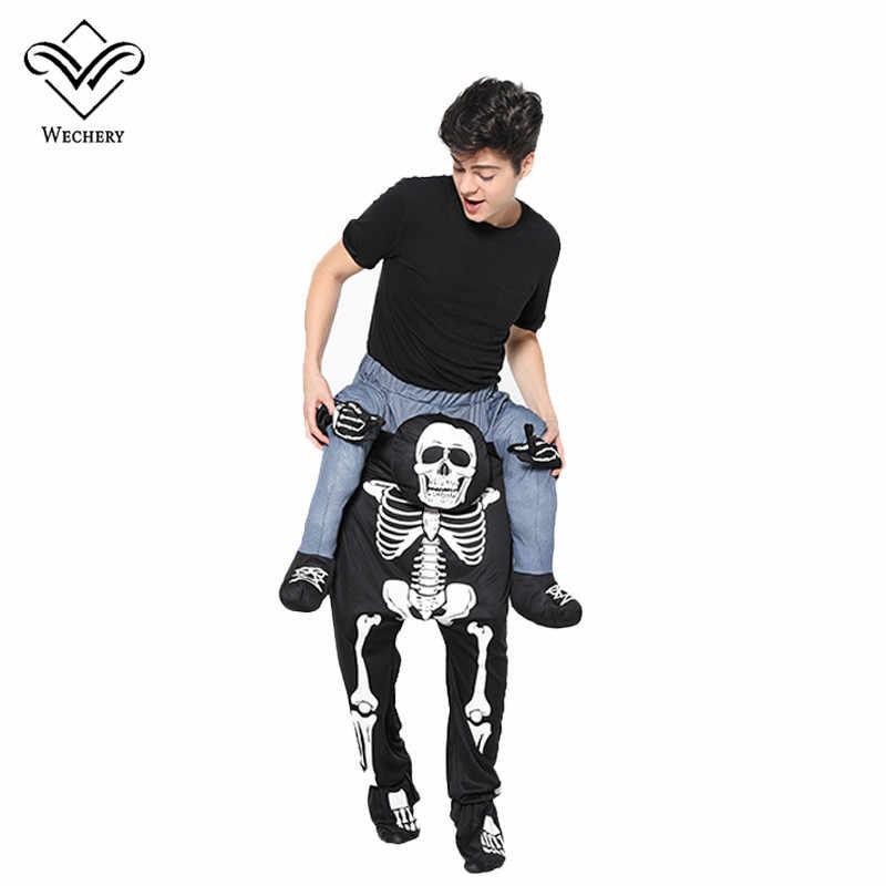 Wechery Tengkorak Membawa Orang Cosplay Anime Pria Tengkorak Cosplay Celana Halloween Kostum Lucu Pesta Pakaian Liburan untuk Pria
