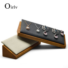 Oirlv Solid wood necklace Holder and pendant display stand with microfiber for jewelry exhibition