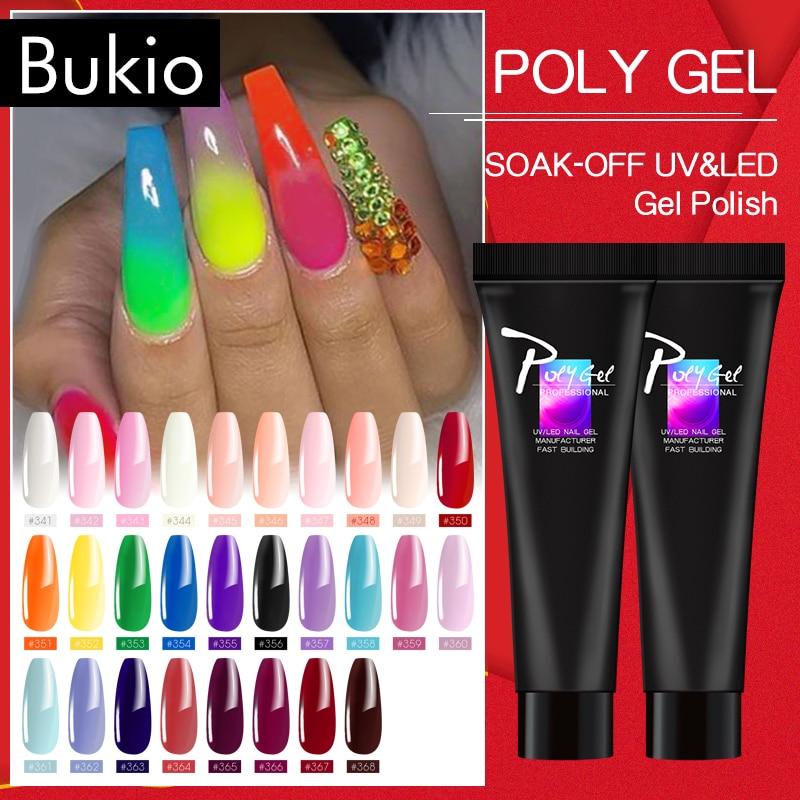 Bukio PolyGel French Nail Art Clear Color Nail Tip Form Crystal UV nail art Clear Extension Varnish Polygel Slice Brush Nail Gel