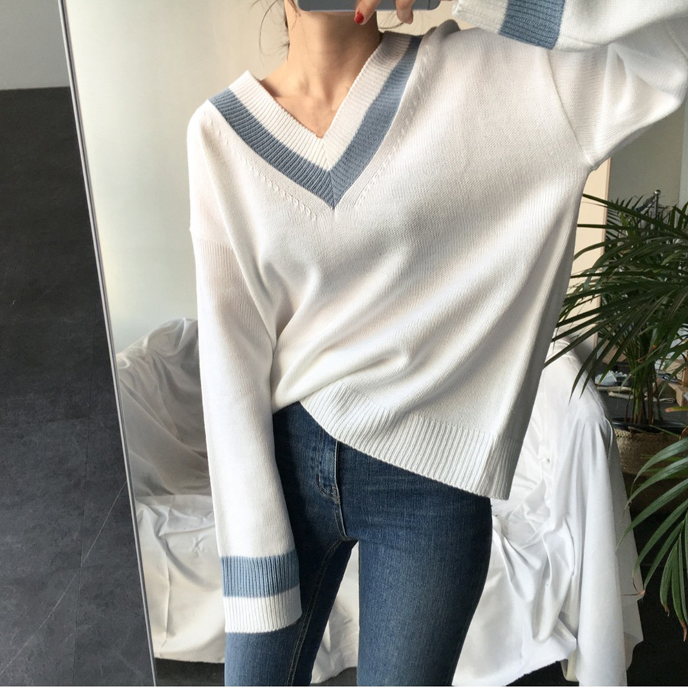 LOOZYKIT New 2020 Autumn Winter Womens Sweaters Black White Pullover Korean Style Minimalist Casual Office Lady V-Neck Pullovers