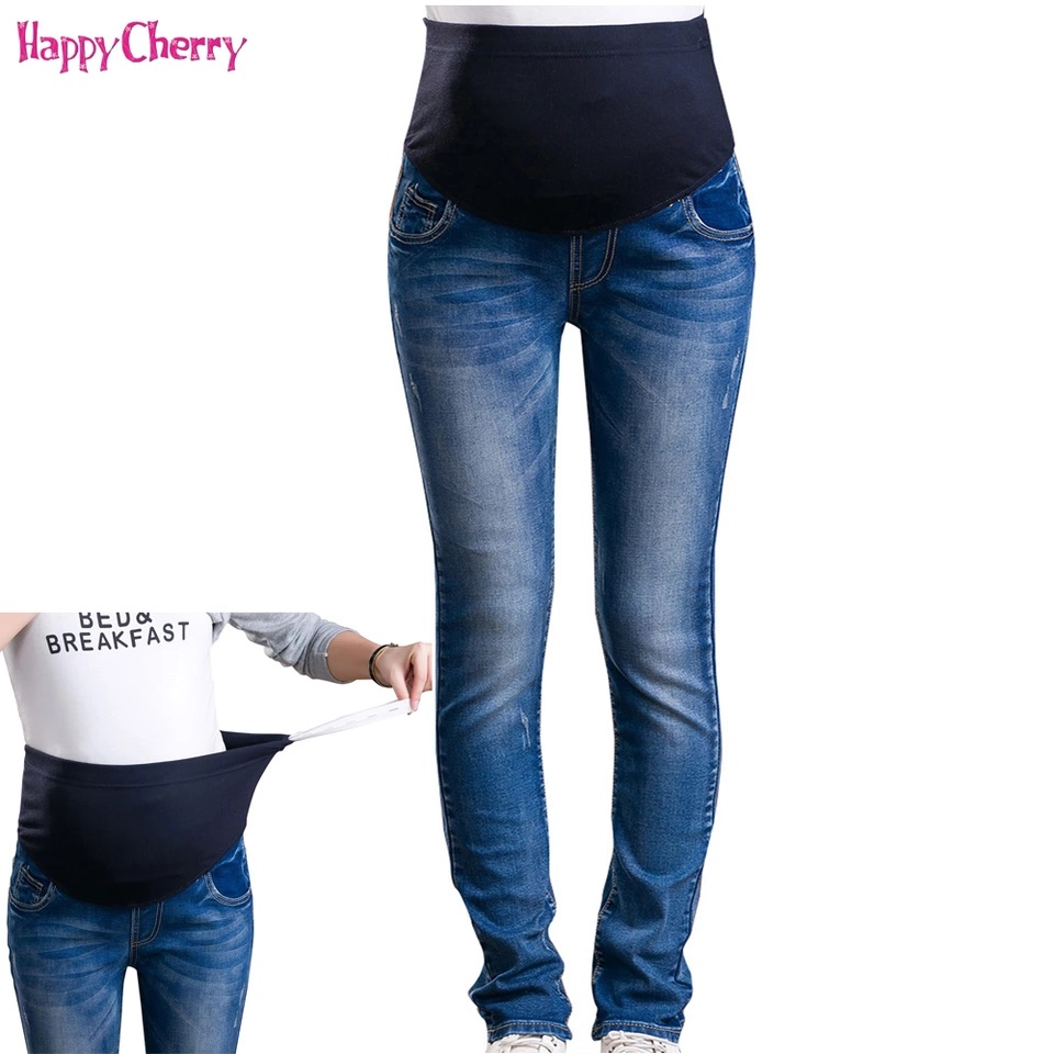 Maternity Jeans For Pregnant Woman Pregnancy Denim Pants Winter Thicken Trousers Maternity Clothing Long Prop Belly Legging Pant