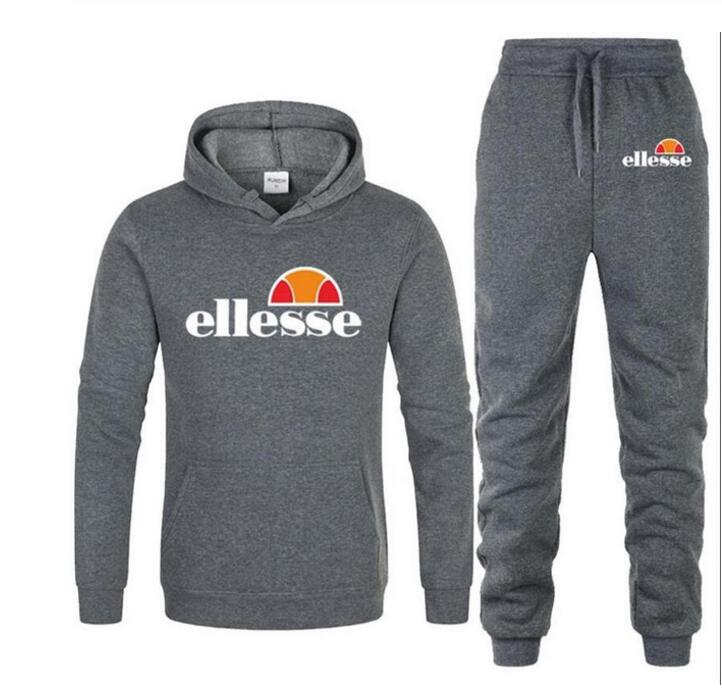 2019 Winter Sporting Suits Men Ellesse Hip Hop Hooded Hoodies + Pants Tracksuits Autumn Casual Mens Sportswear Sets