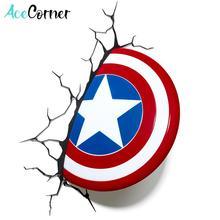 Acecorner Captain Americas Shield Superhero 3D LED Wall Lamp Creative Avengers Marvel Sticker Night Light for Christmas Kid Gift