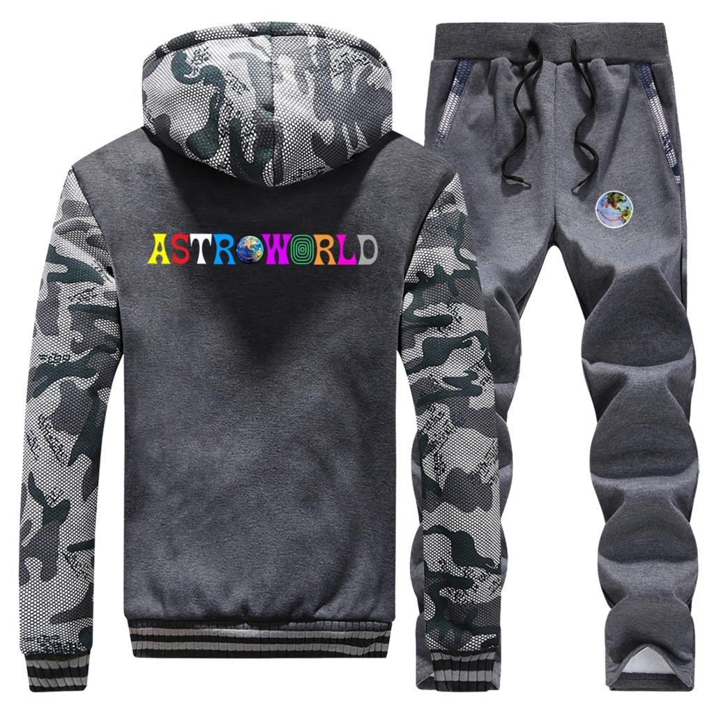 Travis Scotts Astroworld Smiley World Print Jacket Winter Thick Camouflage Hoodie Hip Hop Men Sweatshirt+Sweatpants 2 Piece Sets