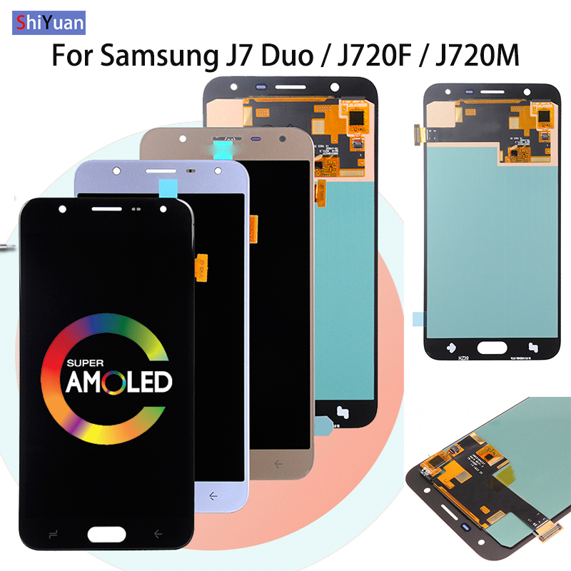 SUPER AMOLED 5.5'' <font><b>LCD</b></font> for SAMSUNG Galaxy J7 Duo 2018 <font><b>J720</b></font> J720F AMOLED <font><b>LCD</b></font> Display Touch Screen Digitizer Assembly Adjustable image