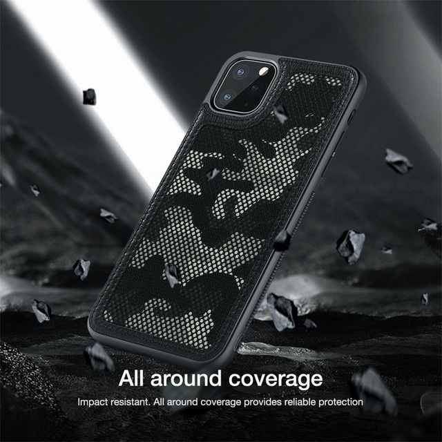 NILLKIN iPhone 11 Pro Max Case Camouflage Pattern Cloth Anti Water-Splashing Back Case Cover