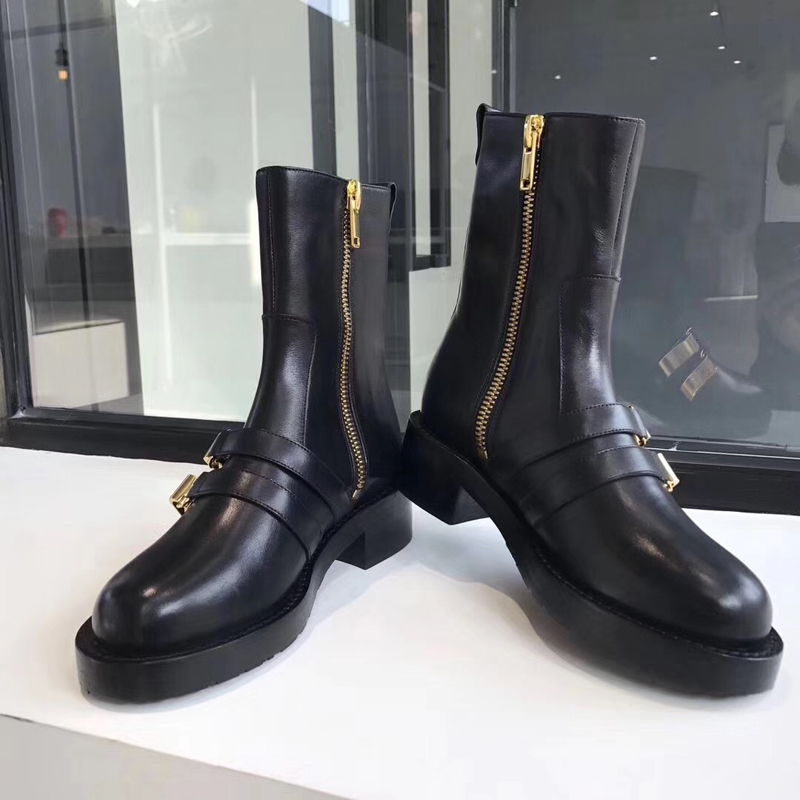 Autumn Winter Buckle Strap Black Leather Square Toe Fashion Shoes Women Ankle Cowboy Boots For Women low Heel Punk Motorcycle