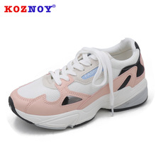 Koznoy Sneakers Women Spring Autumn Thick Bottom Dropshipping Fashion Breathable Increase Mixed Colors Leisure Shoes