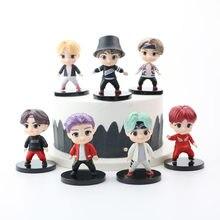 2020NEW KPOP Star TOP Group Bt21 Action Figures Toy 7PCS Bangtan Boy gruppi modello giocattoli A.R.M.Y collezione di marionette regalo per ragazze