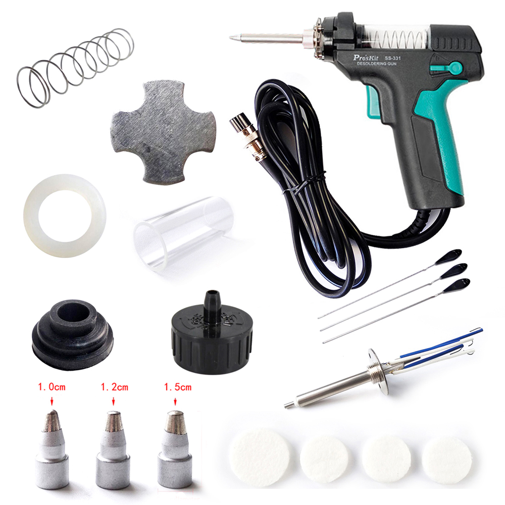 Pro'sKit SS-331H Accessories Electric Desoldering Station Tin Gun Suction Tin Pump Filter Pipe Nozzle Heater Needle Mat Spring