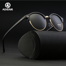 KDEAM 2019 New Retro Brand Designer Round Sunglasses Polarized Women Half Frame Mirrored Polaroid Vintage Glasses