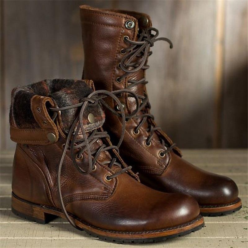 New Size 38-48 Work Shoes Winter Boots Men Big Size Plush Warm Winter Shoes Men Brown Vintage Men Boots Safety Shoes