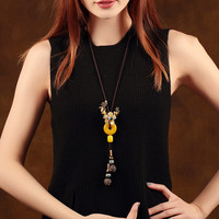 Topaz peace buckle Pendant Sweater Chains Long Necklace Vintage Accessories China Ethnic Hanging Ornaments Decorative Chain
