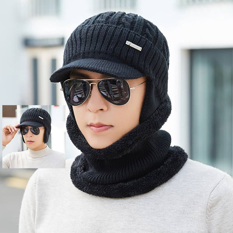 Kitted Winter Ring Scarf Hat Set Men Thicken Winter Hats Scarves Men Unisex Keep Warm Hat Female Set