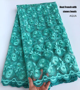 Image 2 - 5 ярдов кораллово красное серебряное французское кружево, африканская швейцарская Тюлевая ткань, очень аккуратная вышивка, нигерийская традиционная одежда высокого качества