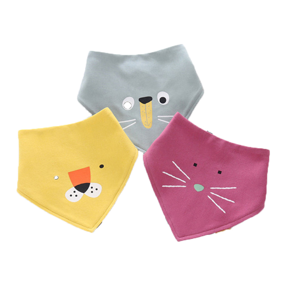 Saliva Towel Children's Triangle Towel Cotton Double-Layer Buckle Bib Pocket Children's Scarf AB Face Children's Napkin