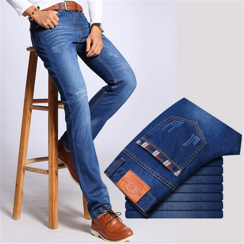 2019 Casual Jeans Men Business Straight Jeans Stretch Denim Pants Trousers Slim Fit Classic Cowboys Young Man Jeans