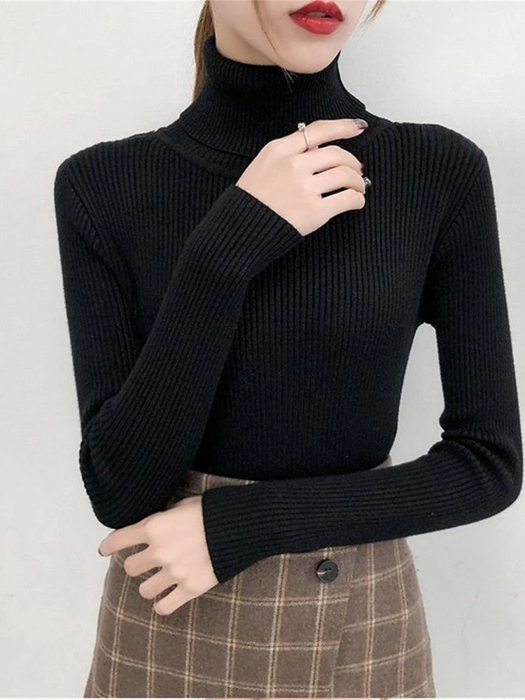Knitted Jumper Shirt Sweater Pullovers Tops Tight Turtleneck Long-Sleeve Girls Autumn