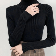 Tight Sweater Shirt Pullovers Tops Knitted Jumper Turtleneck Bonjean Long-Sleeve Girls