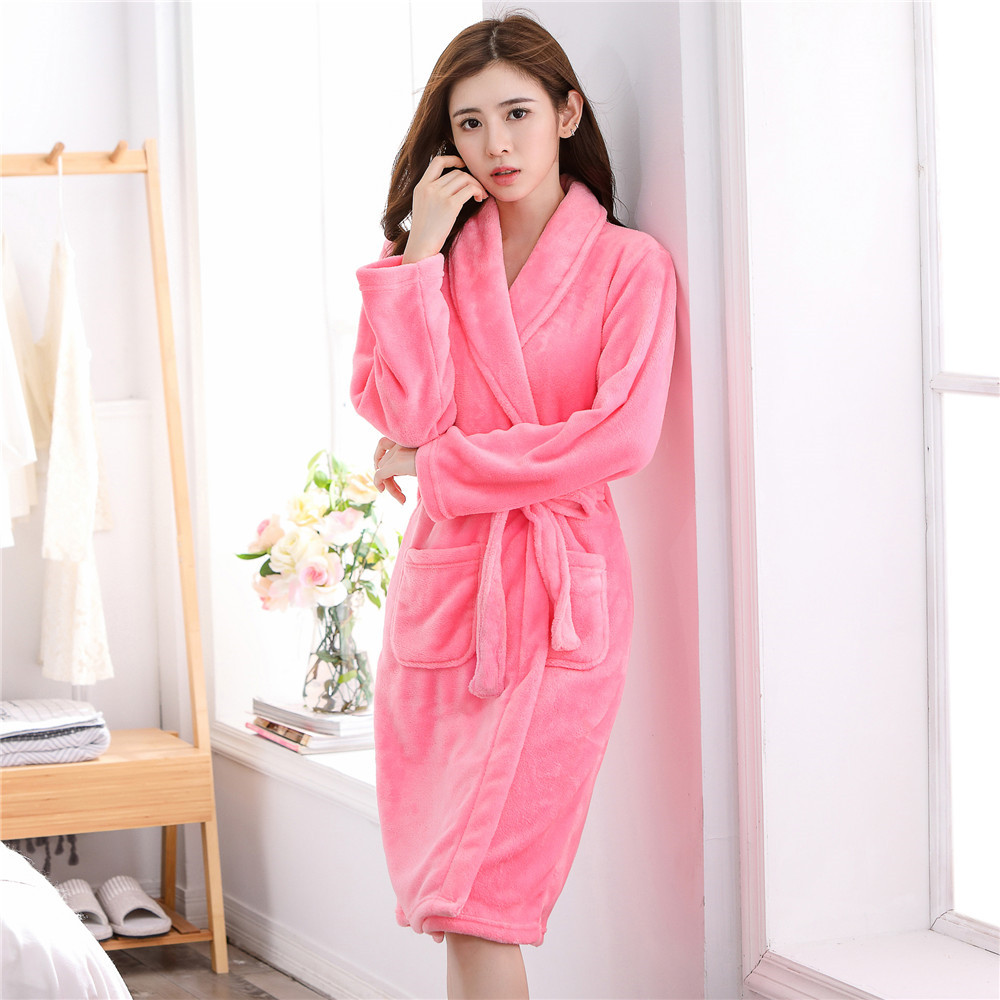 Warm Bathrobe Full Sleeve Ladies Kimono Gown For Women Turn-down Collar Robe Intimate Lingerie Loose Casual Clothes With Pockets