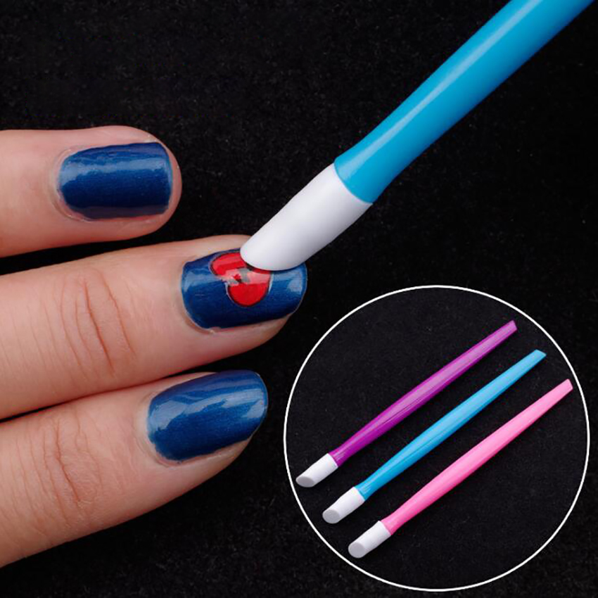Plastic Handle Nail Cuticle Push Stick Rubber Tipped Nail Cleaner Colored Nail Art Tool for Men and Women Nail Art Manicure Tool