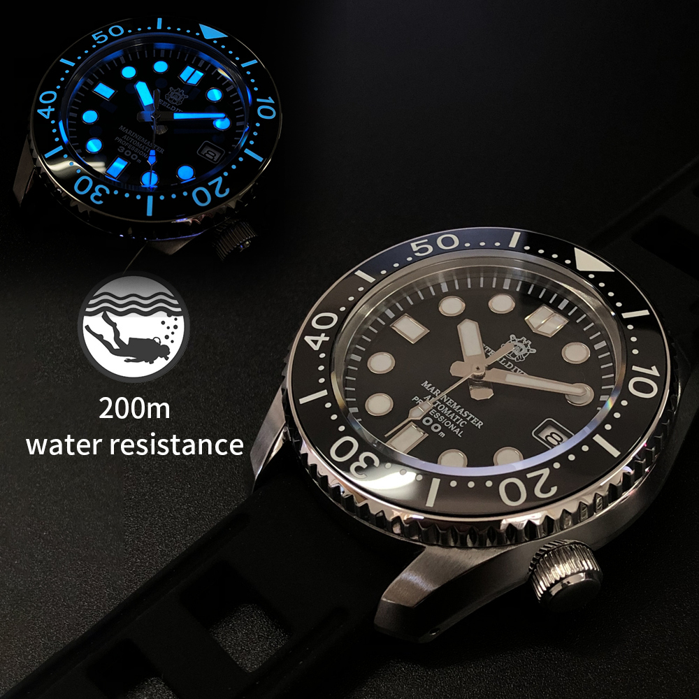 Diver Watch Men Automatic Mechanical Watches Sapphire Crystal Ceramic Bezel Date Window Luminous 30Bar Waterproof Men's Watch