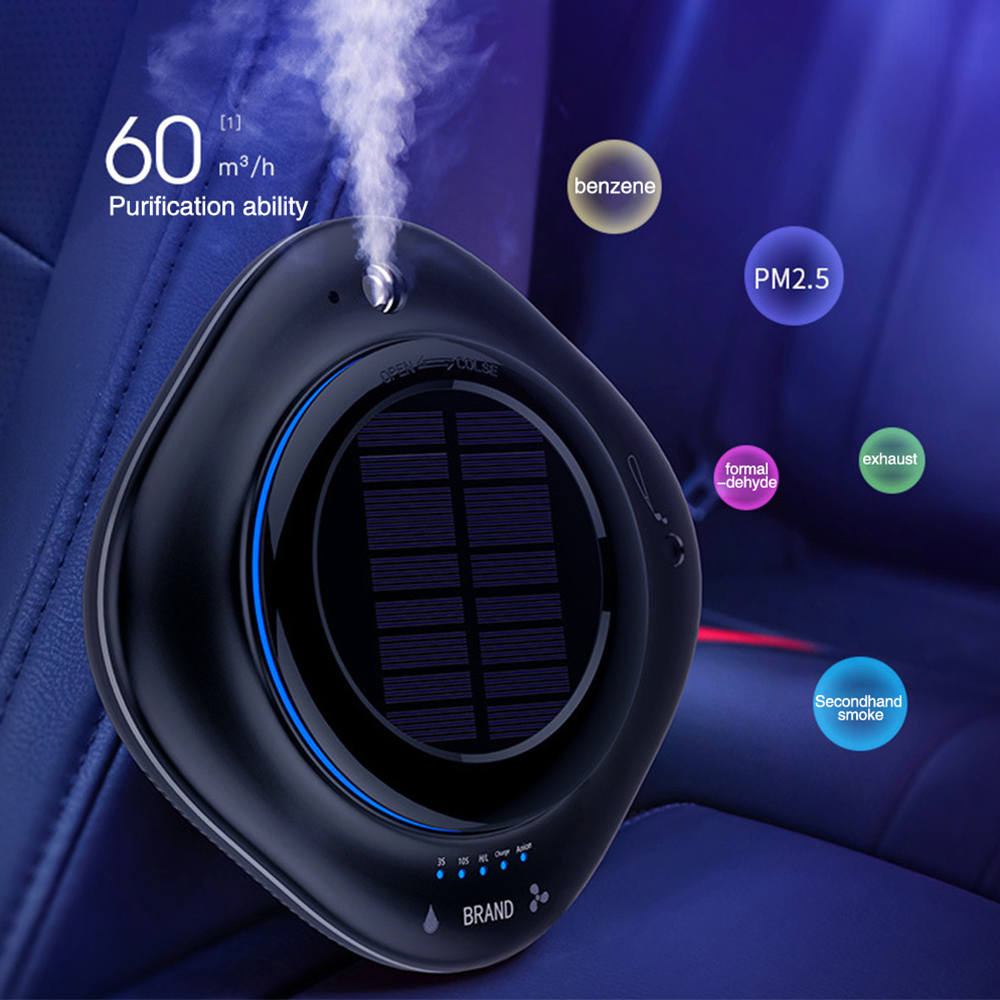 Solar Wireless USB Vehicle Air Purifier Car Humidifier Negative Ion Oxygen Bar Car Air Freshener Ionic Airs Purifier CY002