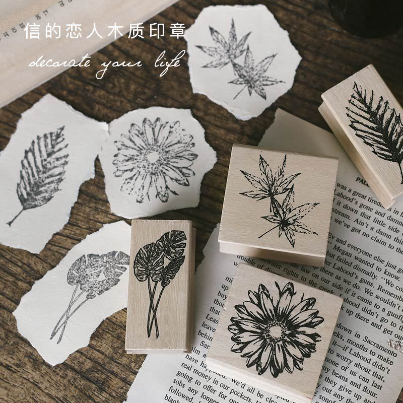 Natural Series Retro Plants Leaf Planner Stamp DIY Wooden Rubber Stamps For Scrapbooking Stationery Scrapbooking Standard Stamp