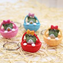 Bamboo Basket Cat Lovely Key Chains For Women Boys Girls Creative Personalized Cute KeyChains New Fashion Trinkets Wholesale(China)