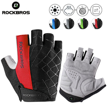 ROCKBROS Bike Half Finger Cycling Gloves Shockproof Breathable MTB Mountain Bicycle Gloves Sports Cycling Gloves Clothings rockbros cycling bike bicycle gloves half finger gel anti shock breathable elastic bicycle gloves mtb motorcycle sports gloves