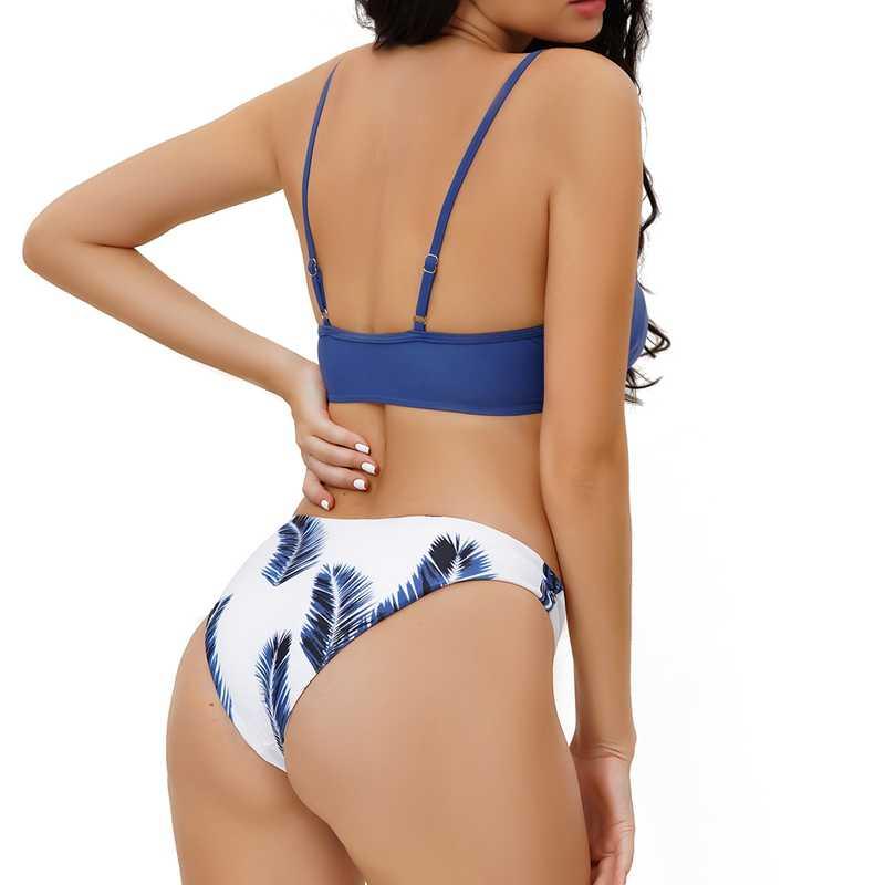 tri/ángulo Conjunto de bikini para mujer con estampado floral al azar cintura alta de dos piezas para la playa