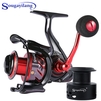 Sougayilang Spinning Fishing Reel 13+1BB Gear Ratio 5.2:1 Carp Reel 1000-5000 Series 2 Spools Metal Body Sea Boat Fishing Reel spinning reel full metal fishing reel 4 7 1 9 1bb fly fishing reel feeder fishing baitcasting reel sd5000 series moulinet peche