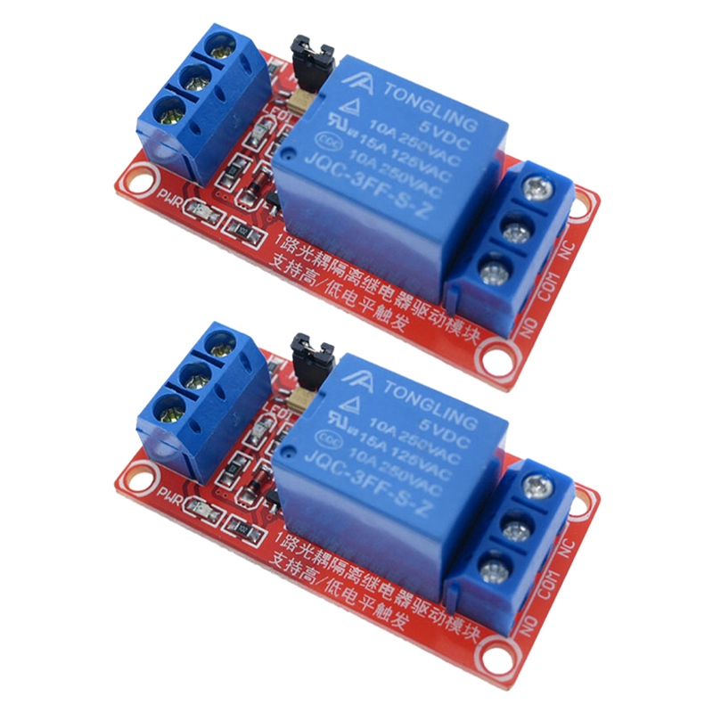 2Pcs One 1 Channel 5V Relay Module Board Shield for Arduino with Optocoupler Support High and Low Level Trigger