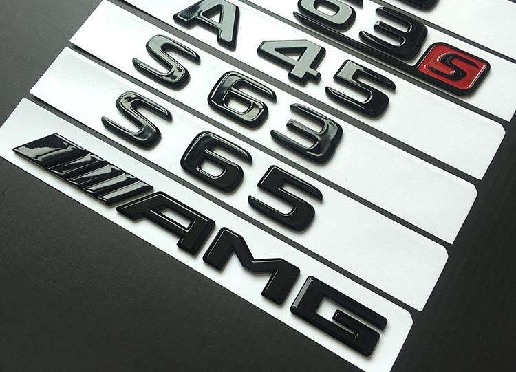New Bright Black Letter Number Emblem Car Trunk Model Name Sticker For Mercedes Benz AMG A45 C43 C63 C63S E43 E63S S63 S65 GLA43