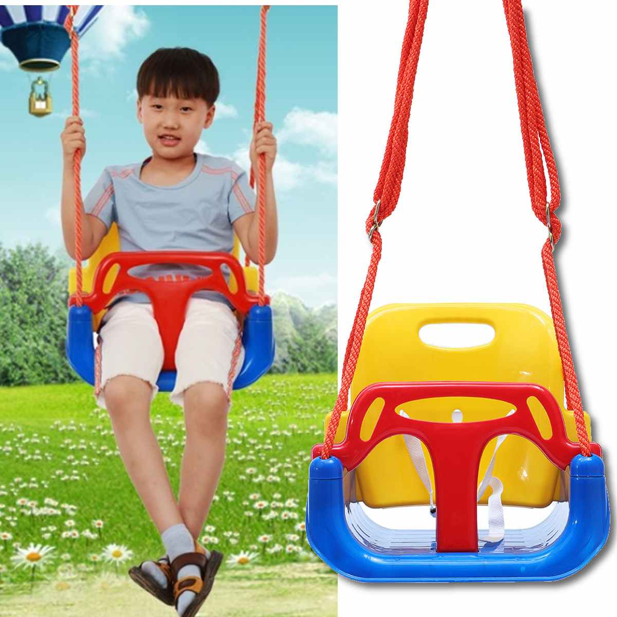 Adjustable Safe Bucket Baby Swing Seat With Seat Belt Kids Outdoor Yard Play Children's Swing Home Three-in-one Infant Baby Swin