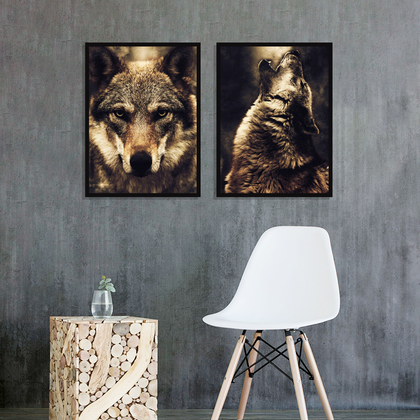 Watercolor Wolf Lion Eagle Elephant Wall Art Canvas Painting Nordic Posters And Prints Wall Pictures For