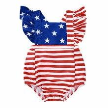 Mameluco de bebé sin mangas con estampado de estrellas y rayas de 4th-of-july, conjunto de trajes de colores mezclados, ropa infantil