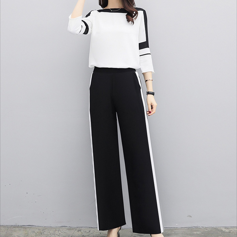 Chiffon Women Sets Elegant Office Fashion Sets Long Sleeve Tops+wide Leg Pants Trousers Two Piece Casual Suits