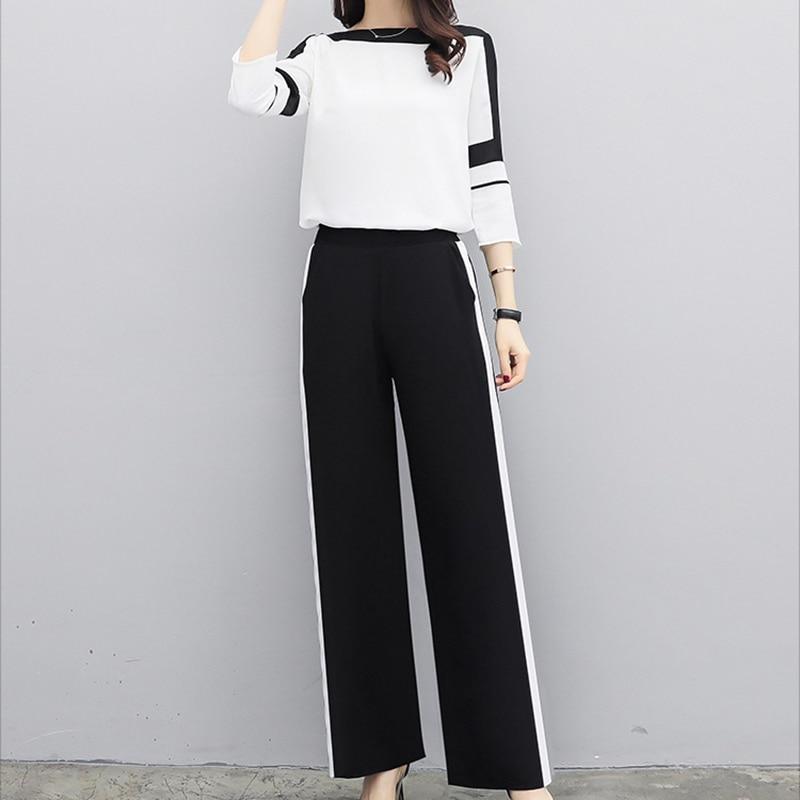 Chiffon Women Sets Elegant Office Fashion Sets Long Sleeve Tops+wide Leg Pants Trousers Two Piece Casual Suits