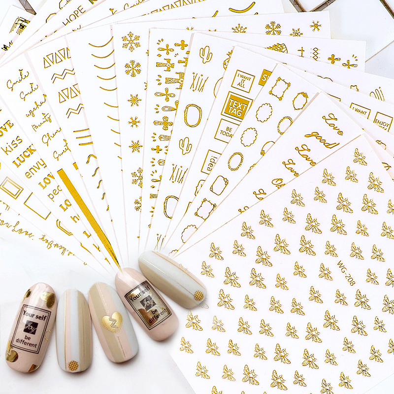 Japanese-style Manicure Gold Foil Stickers 3D Stickers Nail Sticker English Lettered Small Bee Stereo Gum Nail Polish Stickers